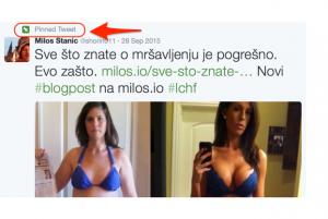 Pinovan twit se vidi prvi kada neko ode na vaš profil