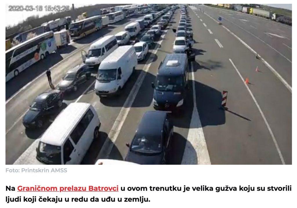 u kolonama nazad u Srbiju